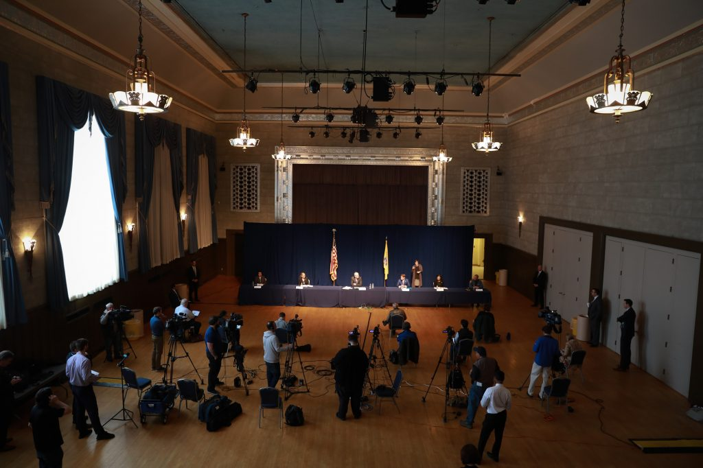 Social distancing in full effect at Gov. Phil Murphy's coronavirus press conference on March 19, 2020 in Trenton.