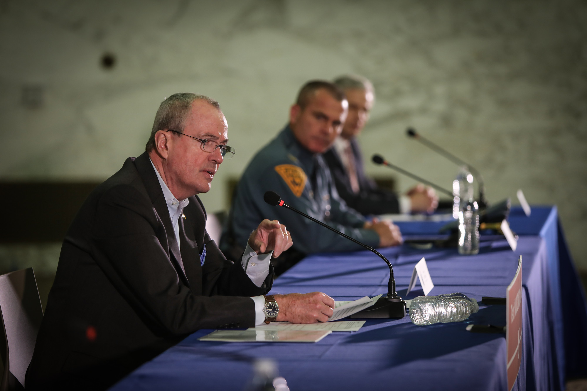 Gov. Phil Murphy holds his daily briefing on COVID-19 in Newark on March 24, 2020.