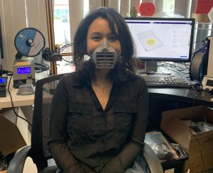 Shweta Thapa, a co-founder of 3DucatorsUSA and educator at Maker Depot Academy in her reusable, 3-D printed medical mask.