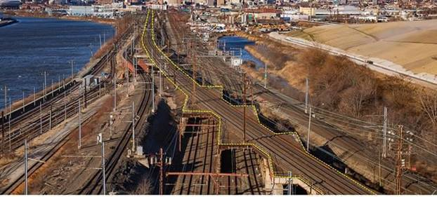 The Sawtooth Bridge (like the teeth of a saw), is owned by Amtrak and carries the Northeast Corridor over PATH, Conrail and NJ Transit's busy Main & Essex Line.