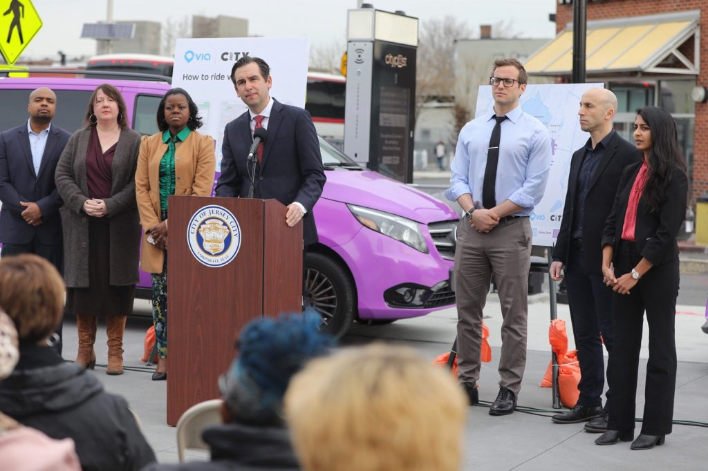 Jersey City Mayor Steven Fulop speaks during a press conference highlighting the city's on-demand public transportation service with Via.