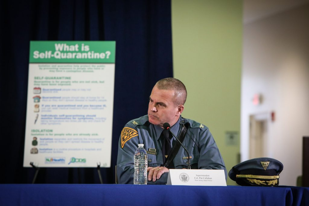 Col. Pat Callahan at Gov. Phil Murphy's COVID-19 briefing in Newark on March 24, 2020.