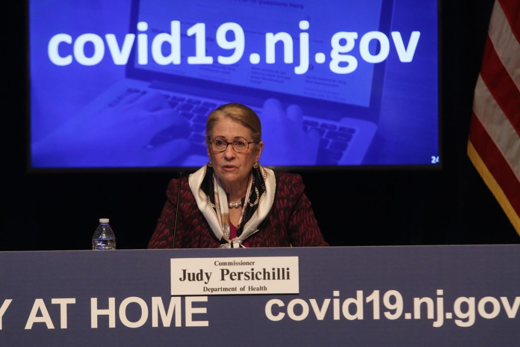 Judy Persichilli, commissioner of the New Jersey Department of Health answers questions during the Gov. Phil Murphy's daily COID-19 press briefing at the the War Memorial in Trenton on April 24, 2020.