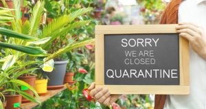 Business owner holding sign with text SORRY WE ARE CLOSED QUARANTINE in flower shop, closeup