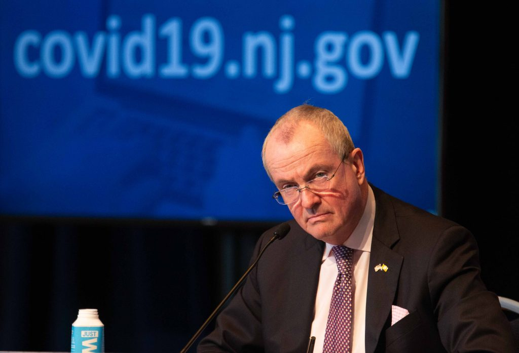 Gov. Phil Murphy holds his daily COVID-19 press briefing in Trenton on April 29, 2020.