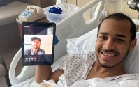 New York Red Bulls goalkeeper Ryan Meara makes a virtual visit to share his well-wishes with a patient at the Joseph M. Sanzari Children's Hospital at Hackensack University Medical Center.