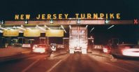 New Jersey Turnpike Exit 11 Tollbooth at night. Taken Aug. 2, 1992.