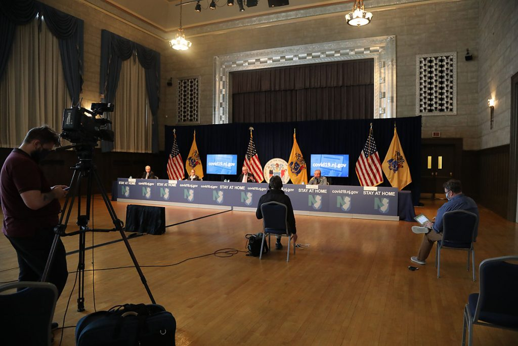 Gov. Phil Murphy holds his his daily COVID-19 press briefing at the the War Memorial in Trenton on May 19, 2020.