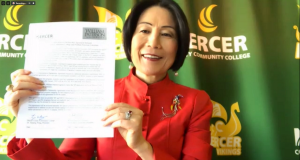Mercer County Community College President Jianping Wang at the Zoom signing ceremony for a 3+1 agreement with William Paterson University on May 7, 2020.