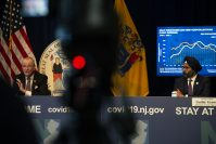 From left, Gov. Phil Murphy and Attorney General Gurbir Grewal during a daily COVID-19 press briefing in Trenton, on May 5, 2020. - JOSEPH LAMBERTI, COURIER POST