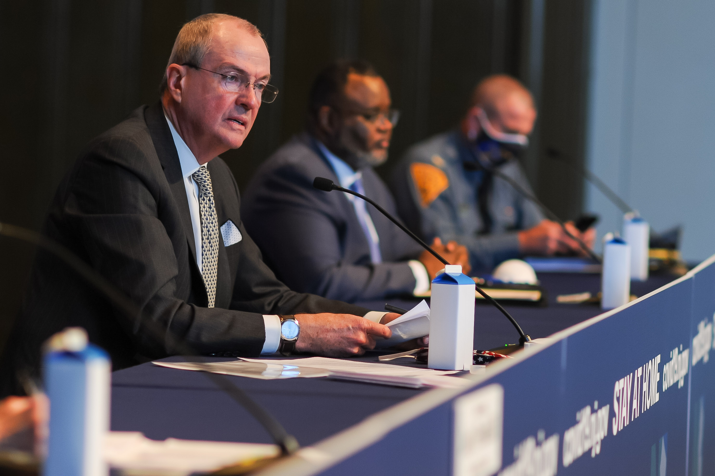 Gov. Phil Murphy holds his daily COVID-19 press briefing in Trenton on May 4, 2020. KEVIN SANDERS, NEW JERSEY GLOBE
