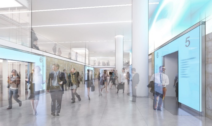 Rendering for the Central Concourse Extension at Penn Station New York.