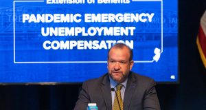 New Jersey Commissioner for the Department of Labor and Workforce Development Robert Asaro-Angelo at Gov. Phil Murphy's daily COVID-19 press briefing at the War Memorial in Trenton on May 21, 2020.