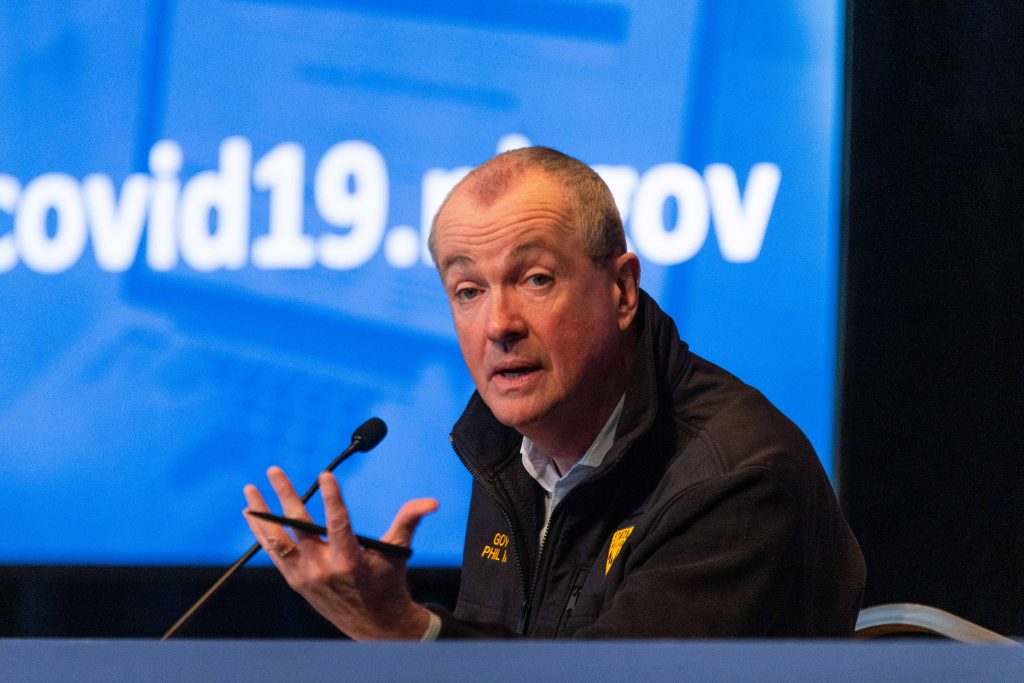 Gov. Phil Murphy at the War Memorial in Trenton on May 21, 2020, for his daily COVID-19 press briefing.