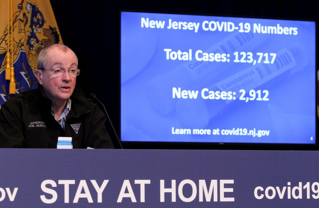 Gov. Phil Murphy updates the COVID-19 numbers during his May 2, 2020, press conference at the War Memorial in Trenton on the state's response to the COVID-19 pandemic.