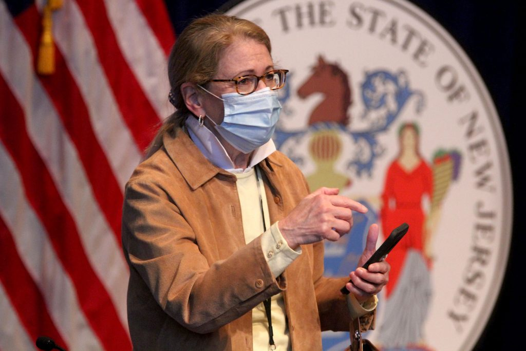 New Jersey Department of Health Commissioner Judy Persichilli after Gov. Phil Murphy's May 2, 2020, press conference at War Memorial in Trenton, on the state's response to the COVID-19 pandemic.