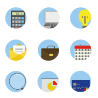 Business Icons Icons Calculator Laptop Lightbulb