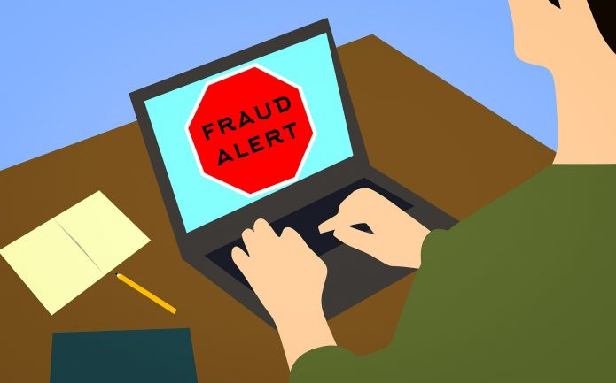 Fraud Alert image on a computer screen