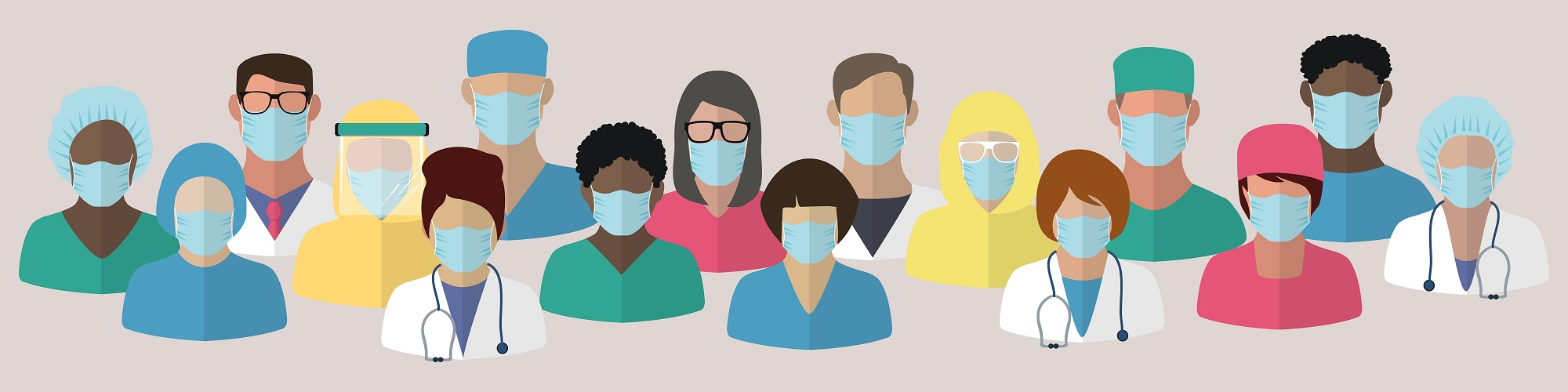 Set icons of doctors and medical staff in masks. Health care concept. Fears of getting coronavirus. Global viral epidemic or pandemic. Flat vector illustration