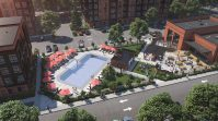 Rendering for Vermella East's pool and outdoor lounge. - RUSSO DEVELOPMENT