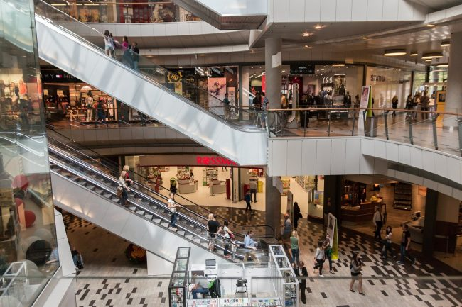 Interior of a shopping mall.