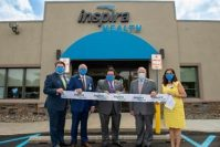 From left, David Yhlen, chief operating officer and vice president of ambulatory services; Ron Rossi, Inspira Health board chairman; John DiAngelo, president and CEO Inspira Health; Barry Wright, mayor Township of Winslow; Alka Kohli, executive vice president and chief population Health Clinical Officer celebrate the ribbon cutting for Inspira Health Center Sicklerville on July 30, 2020. - INSPIRA HEALTH