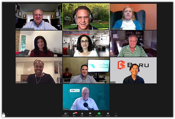 July 28, 2020 TechLaunch BullPen No. 17 Participants, frist row from left, Mario Casabona, Eric Korb and Katherine O'Neill; second row from left, Gina Tedesco, Robin Bear and Steve Dyer; third row from left, Janelle Benjamin, Ed Berde and Tino Go; and Jeff Paul.