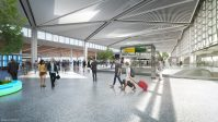 A rendering of the Terminal One interior departure hall. - GRIMSHAW ARCHITECTS