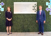 In July 2020, Hackensack Meridian Health celebrated the Hackensack Meridian School of Medicine's establishment as an independent entity after partnering with Seton Hall University to open the medical school three years ago. At the commemoration event on the school's Nutley/Clifton campus at ON3, founding Dean Dr. Bonita Stanton, left, HMH Chief Executive Officer Robert Garrett, right, and Seton Hall President Joseph Nyre unveiled a commemorative plaque marking the school's independence.