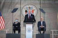 Gov. Phil Murphy delivers his revised Fiscal Year 2021 Budget Address at SHI stadium at Rutgers University in Piscataway on Aug. 25, 2020.