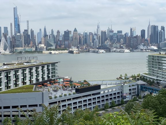 Drone shot showing the view of Manhattan from the EnVue.
