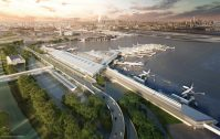 Aerial renderting of the new Terminal One now under construction at Newark Liberty International.- GRIMSHAW ARCHITECTS