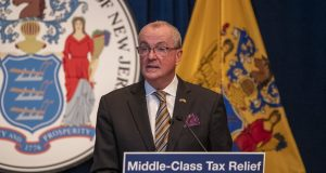 Gov. Phil Murphy announces a deal on the millionaire's tax on Sept. 17, 2020 in Trenton.
