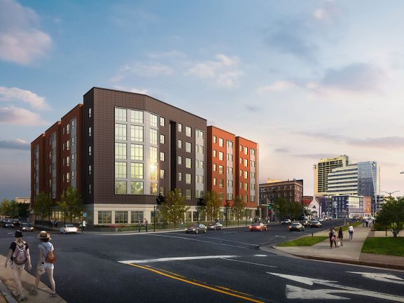 A rendering for Stockton University's 135,000-square-foot residential hall in Atlantic City, which is expected to be completed in 2023.