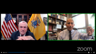 Gov. Phil Murphy and Dr. Anthony Fauci take part in a Facebook Live discussion on Sept. 24, 2020.