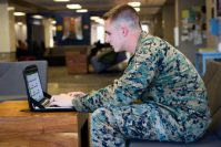A student takes part in US Air Force Centenary University online classes.