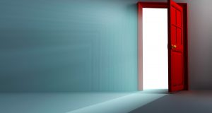 illustration of 3d image of light coming out open door