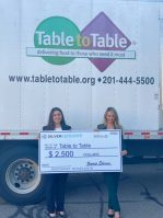 """Eda Tekegolu, left, chief development officer of Table to Table, and Zeynep """"Z"""" Ekemen, managing partner of Silver Defender, mark the Fort Lee-based company's donation to the food rescue charity in October 2020."""