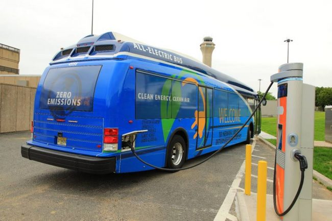 The Port Authority of New York and New Jersey has built the biggest electric bus fleet at airports on the east coast.