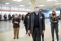 """Governor Phil Murphy arrives to tour the opening of the Morris County vaccination site, one of New Jersey's planned six vaccine """"mega-sites"""" - at Rockaway Townsquare Mall in 2021."""