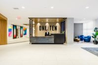 The lobby of One Ten, part of the Enclave Collection, in Jersey City.