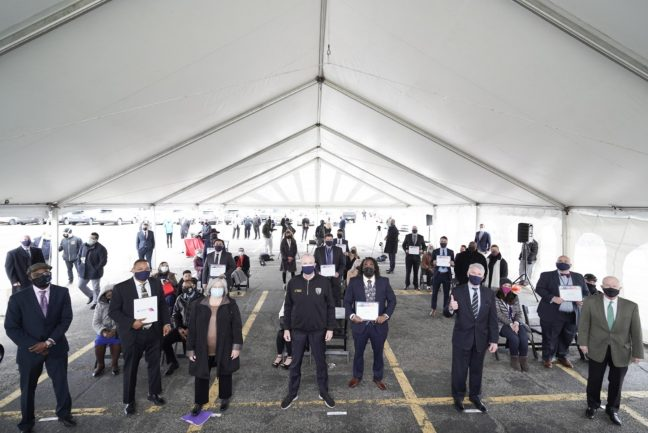 Gov. Phil Murphy announces New Jersey Transit's completion of full locomotive engineer roster on April 22, 2021 at Metropark in Iselin.