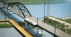 A rendering of the future Portal North Bridge which will be much higher off the river, allowing boats to pass without having to open and close. - GATEWAY DEVELOPMENT CORP.