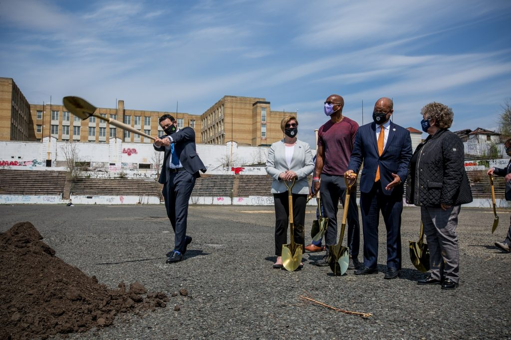 Paterson Mayor Andre Sayegh, state Sen. Nellie Pou and Assemblyman Benjie Wimberly, as well as retired baseball stars CC Sabathia and Harold Reynolds were in attendance for the groundbreaking of Hinchliffe Stadium on April 14, 2021