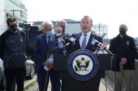 U.S. Reps. Josh Gottheimer and Bills Pascrell on April 9, 2021, in Fort Lee to fight back against New York's proposed congestion tax targeting Jersey drivers.