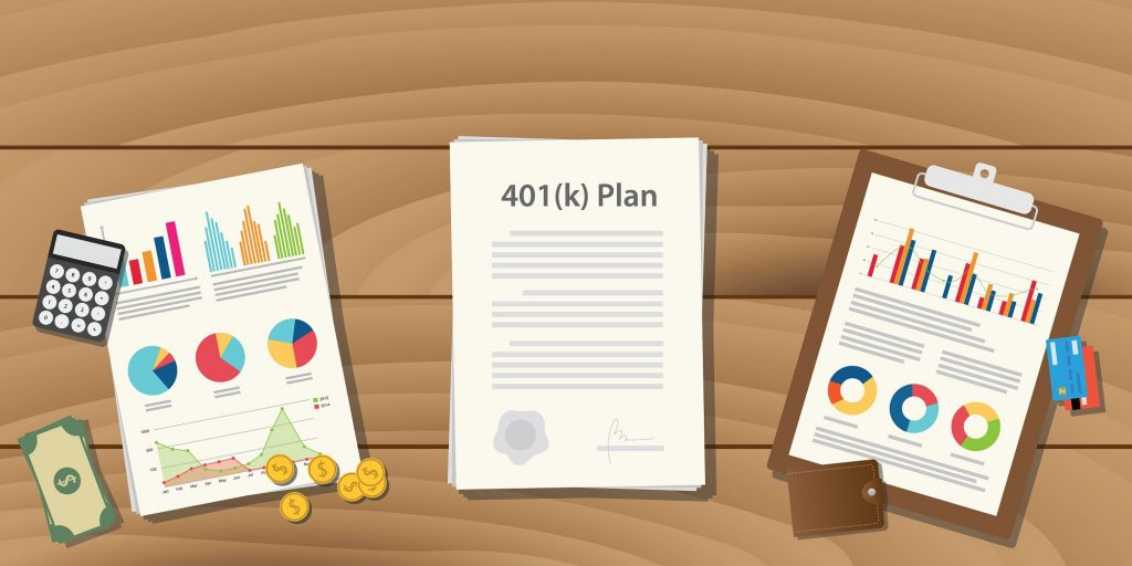 401 k plan illustration concept with paperwork with graph and chart and money calculator on top of the table vector