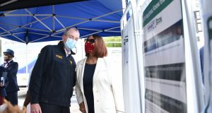 """Gov. Phil Murphy, First Lady Tammy Murphy, Lt. Gov. Sheila Oliver, Whoopi Goldberg, Essex County Executive Joe DiVincenzo, the Reverend Melvin Wilson and the Office of East Orange Mayor Ted Green participate in a """"Grateful for the Shot"""" vaccination event on May 14, 2021."""