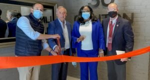 Members of the Paramount Assets team joined local dignitaries at the ribbon cutting ceremony of Clinton Flats on May 7, 2021. From left, Paramount Assets COO Maurice Levy, Paramount Assets Chairman Solomon Levy, Newark Central Ward Council Member LaMonica McIver, Paramount Assets Senior Vice President and Richard Dunn.