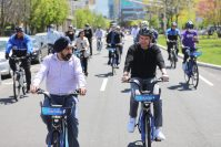 The mayors of Hoboken and Jersey City, Ravinder Bhalla and Steven Fulop ride in their cities' unified Citi Bike bikeshare inaugural ride.