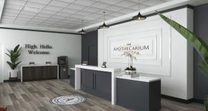 Rendering for the lobby at the 6,500-square-footThe Apothecarium in Maplewood - TERRASCEND CORP.